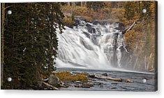 Yellowstone Waterfall Panorama Acrylic Print by Andrew Soundarajan