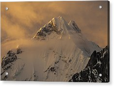 Yerupaja Summit Ridge 6617m At Sunset Acrylic Print by Colin Monteath