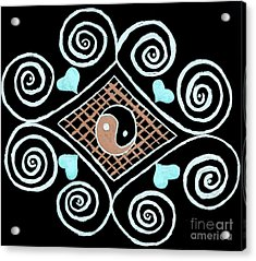 Yin Yang Swirls On Black Acrylic Print by Jeannie Atwater Jordan Allen