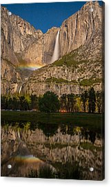 Yosemite Falls Moonbow Reflection Acrylic Print by Marc Crumpler