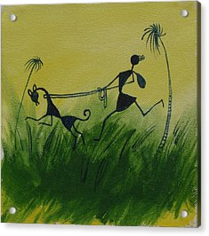 You En I In This Beautiful World Acrylic Print by Chintaman Rudra
