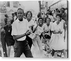 Young African American Demonstrators Acrylic Print by Everett