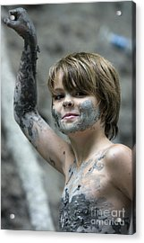 Young Boy Covered With Mud Acrylic Print by Christopher Purcell