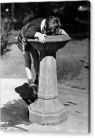 Young Boy Drinking From Water Fountain Acrylic Print by George Marks