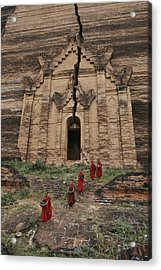 Young Buddhist Monks Near A Ruined Acrylic Print by Paul Chesley