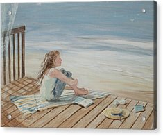 Young Christina By The Beach Acrylic Print by Tina Obrien