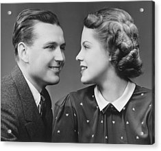 Young Couple Looking In Eyes In Studio, (b&w), Portrait Acrylic Print by George Marks