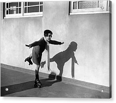 Young Girl (7-9) On Rollerskates (b&w) Acrylic Print by Hulton Archive