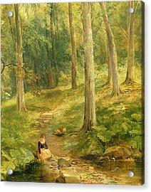 Young Girl Bathing Her Feet Acrylic Print by Thomas Creswick