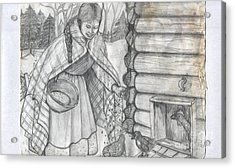 Young Girl Feeding The Chickens In The 1800's Acrylic Print by Francine Heykoop