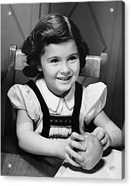 Young Girl Holding Apple Acrylic Print by George Marks