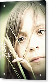 Young Girl In Field Of Grasses Acrylic Print by Ethiriel  Photography