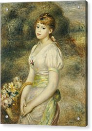 Young Girl With A Basket Of Flowers Acrylic Print by Pierre Auguste Renoir