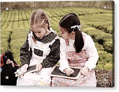 Young Girls Doodling Acrylic Print by Gaspar Avila