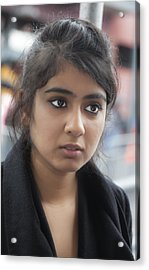 Young Indian Woman Nyc Acrylic Print by Robert Ullmann