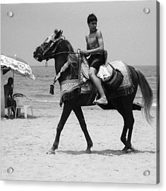 Young Knight On The Beach In Saidia Acrylic Print