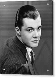 Young Man Wearing Pinstripe Jacket, (b&w), Portrait Acrylic Print by George Marks