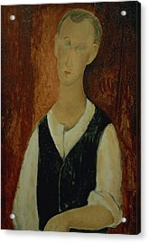 Young Man With A Black Waistcoat Acrylic Print by Amedeo Modigliani