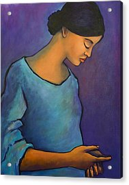 Young Mexican Girl In Blue Acrylic Print