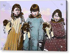 Acrylic Print featuring the mixed media Young Native American Eskimo by Charles Shoup