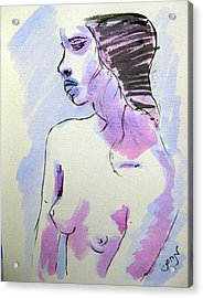 Acrylic Print featuring the painting Young Nude Female Girl Sitting In Contemplation Introspective Or Watercolor On Textured Paper by M Zimmerman