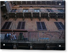 Young People Chat And Use A Laptop Acrylic Print