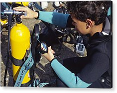 Young Scuba Diver Checking Kit Acrylic Print by Alexis Rosenfeld
