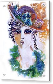 Young Woman Face With Curls In Blue Green Dress Purple Hat With Flower  Acrylic Print