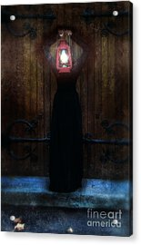 Young Woman In Black Lantern In Front Of Her Face Acrylic Print by Jill Battaglia