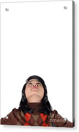 Young  Woman Looked Up To The Top And Enjoying The Music  Acrylic Print by Antoni Halim