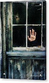 Young Woman Looking Through Hole In Window Acrylic Print by Jill Battaglia