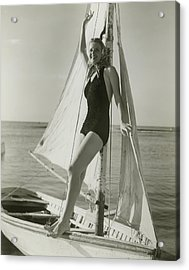 Young Woman Posing On Sailboat Acrylic Print by George Marks