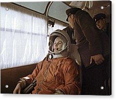 Yuri Gagarin Before Launch, 1961 Acrylic Print by Ria Novosti