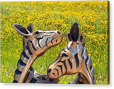 Zebra Sculptured Heads In Wildflowers Acrylic Print by Linda Phelps