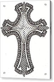 Zentangle Cross Acrylic Print by Michelle Kidwell