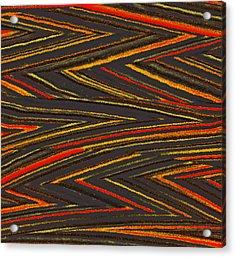 Zig Zag Collection Grey Vs Orange Acrylic Print by James Mancini Heath