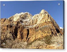Zion Cliffs Acrylic Print by Bob and Nancy Kendrick