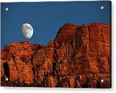 Zion Moonrise Acrylic Print by David Yunker
