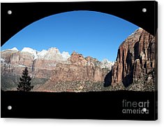 Zion Tunnel View Acrylic Print by Bob and Nancy Kendrick