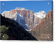 Zion's West Temple Acrylic Print by Bob and Nancy Kendrick