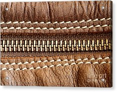 Zipper And Leather Detail Acrylic Print by Blink Images