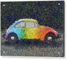Zodiac Vw Bug Mosaic Acrylic Print by Paul Van Scott