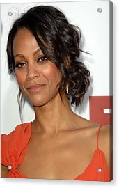 Zoe Saldana At Arrivals For Death At A Acrylic Print by Everett
