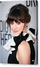 Zooey Deschanel  Wearing A Moschino Acrylic Print by Everett
