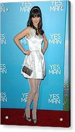 Zooey Deschanel Wearing An Erin Acrylic Print by Everett