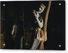 Zulu Women Put On Body And Facial Acrylic Print by Chris Johns