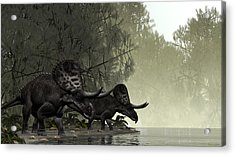 Acrylic Print featuring the painting Zuniceratops by Walter Colvin