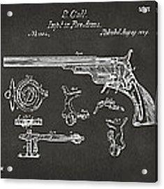 1839 Colt Fire Arm Patent Artwork - Gray Acrylic Print
