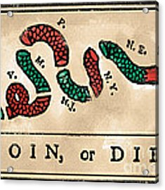 Join Or Die Cartoon 1754 Acrylic Print by Benjamin Franklin
