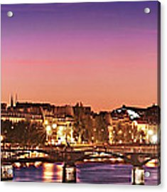 Left Bank At Night / Paris Acrylic Print by Barry O Carroll